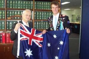 Presenting-the-Australian-Flag-to-German-Rotary-Exchange-Student-Mr-Mortiz-Berkholten